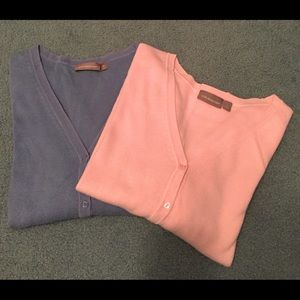 Lot of Two Croft and Barrow Pink and Blue Sweaters